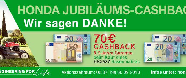 Cashback Honda Rasenmäher HRX 476 und 537